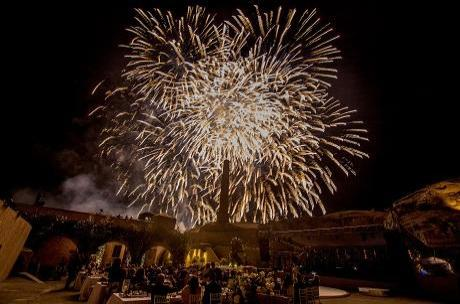 Firework display at Santorini wedding