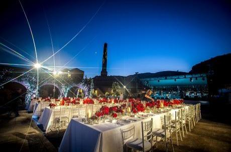 Wedding breakfast at Santorini wedding designed by Invisible Blue