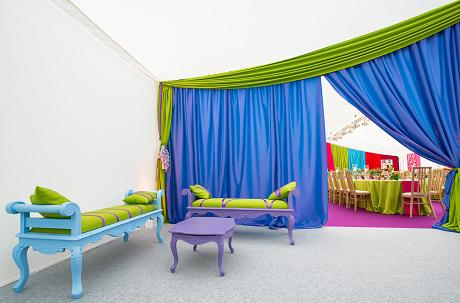 Vibrant Colourful Drapes and Furniture